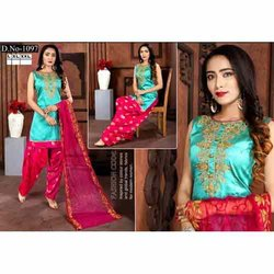 Chanderi Stitched Ladies Designer Suit, Dry clean