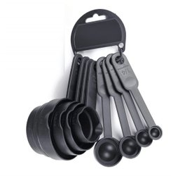 8 Pcs Black Measuring Spoon and Cup Set black