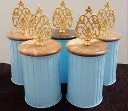 Metal Jars With Wooden Lids