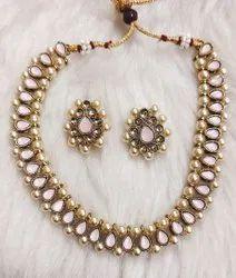 Golden Party Designer Necklace Set, 1 Necklace,2 Earring