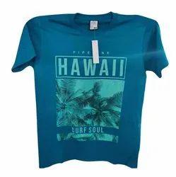 Hosiery Sky Blue Round Neck T Shirts
