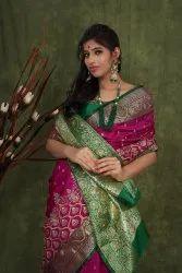 Party Wear Border Banarasi Saree With Hand Work Blouse