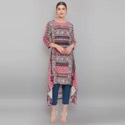 Janasya Women's Multicolor Rayon Kurta(J0179)