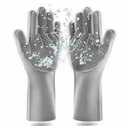 Gray Silicone Cleaning Glove