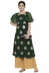Women Gold Foil Printed A-Line Kurta (Green)