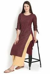 Women Gold Foil Printed Straight Kurta(MAROON)