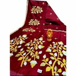 Party Wear Handloom Embroidery Saree, With blouse piece