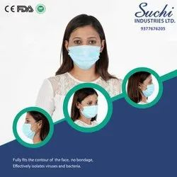 Machine Stitched Or Ultrasonic Disposable 3 Ply Non Woven Mask With Nose Pin