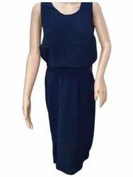 Plain Navy Blue One Piece Dress