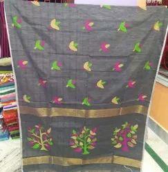 6.3 m (with blouse piece) Festive Wear Ladies Grey Jamdani Chanderi Silk Saree