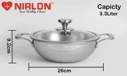 Nirlon Platinum Stainless Steel Triply Induction Deep Kadai, 26cm-3.3 Liter With Glass Lid, Steel