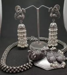 Elephant Design Necklace With Earring