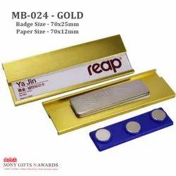 Golden Paper Insert Metal Name Badge Name Tag