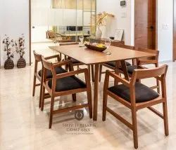 Straight Rectangular Wooden Dining Table Set, For Home