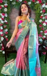 Party Wear Border Cotton Silk Saree, 6.3 m (with blouse piece)