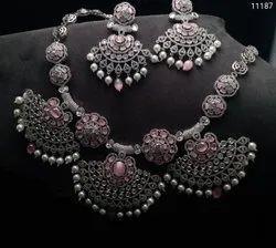 Silver Look AD Necklace Set