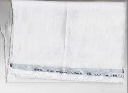 Formal 60 Lea Plain White Linen Shirting Fabric, GSM: 100-150, Handwash