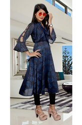 Casual Wear Regular Ladies Rayon Printed Long Kurti, Wash Care: Handwash
