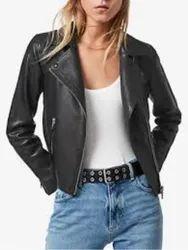 Black Plain Women Leather Jackets