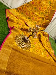 Party Wear Yellow Embroidery Fancy Ladies Saree, 6 m (with blouse piece)