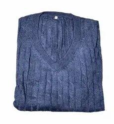 V Neck Men Blue Woolen Sweater