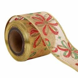 Lurex - Christmas Flowers Ribbons  50mm /2'' Inch-10mtr Length