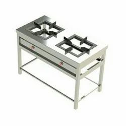 Stainless Steel Polished 2 Burner Cooking Range, For Restaurant, Size: 48x24x34 (nch)