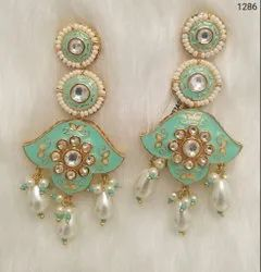 Meenakari Pearl Designer Earrings