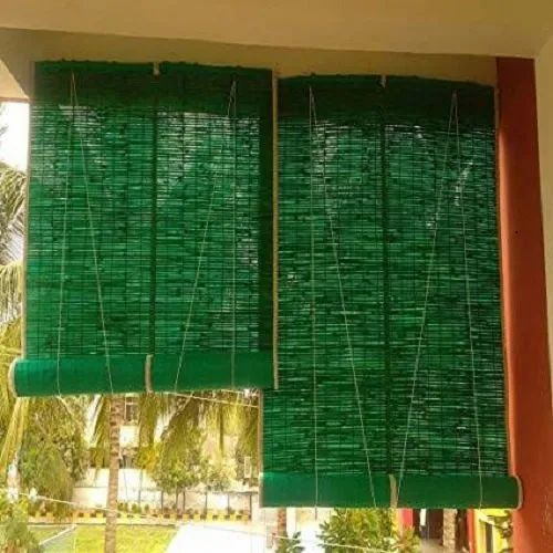 Greem Horizontal Green Bamboo Roll Up Blinds Rs 120 Square Feet Shivam Bamboo Merchant Id 22851359348