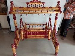 Ghodiya Wooden Stand Baby Cradle, Packaging Type: Box
