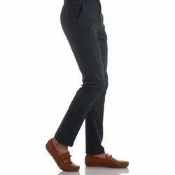 Formal Wear Plain Finnoy Men Cotton Navy Blue Trouser, Size: 28 - 44
