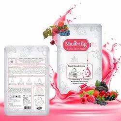 MASKING -Fruit Facial Sheet Mask -Strawberry, Acai Berry, Mulberry, Blueberry - Skin Moisturizing