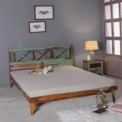 Brown Antela Sheesham Wood King Size Bed, Size: 75x81x36