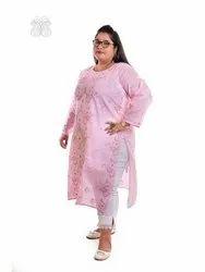 Casual Wear Straight Cotton plus size long kurtis, Wash Care: Handwash