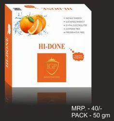 HI-DONE Orange Instant Energy Drink Powder, Packaging Size: 50GM