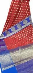 Red, Blue Printed Party Wear Cotton Saree, 6 m (with blouse piece)