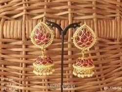 Flower Jhumka Kemp Earrings