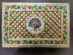 Meenakari Peacock Dry Fruit Box (12x8)