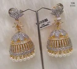 Yellow AD Jhumka Earring
