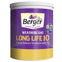 High Sheen Over 2000 shades Berger WeatherCoat Long Life 10 Luxury Exterior Emulsion