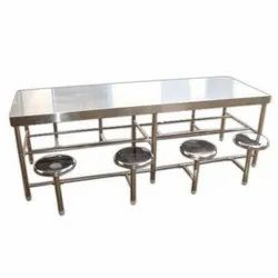 Own Manufacturing Silver 8 Seater Dining Table Set, For Canteen