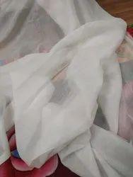 White Plain Pure Daybal Mull Silk Cotton Fabric