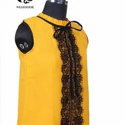 Polyester Casual Wear Ladies Sleeveless Top