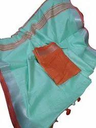 Casual Wear Ladies Plain Cotton Saree, 6.3 m (with blouse piece)