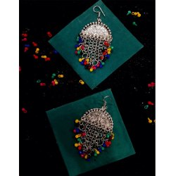 Brass Silver Traditional Stylish Earring