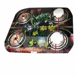 Glass, Stainless Steel Glass Top Four Burner Gas Stove, For Kitchen
