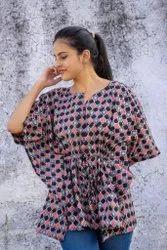 Elegant Comfort Wear Pure Cotton Hand Block Printed Kaftan