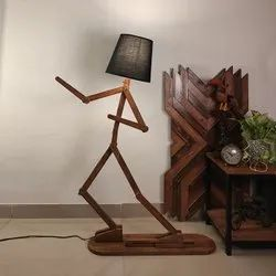 Moonwalker Wooden Floor Lamp With Brown Base And Fabric Lampshade