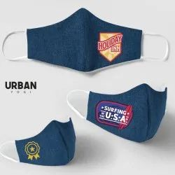 Denim Face Mask Anti Dust Reusable Washable with Elastic Earloops Custom Design Logo Print Brand