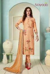 Nayaab Peach Masline Embroidered Suit